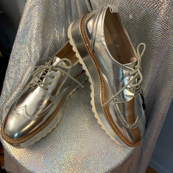 NWOT sz 40 Rose Gold Zara Oxford Shoes